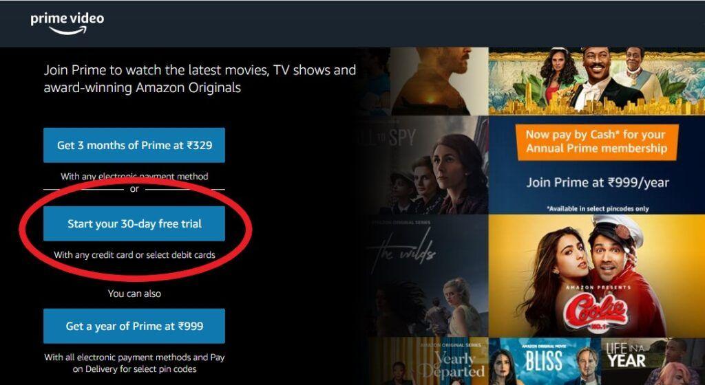 Amazon Prime Video india Free Trial