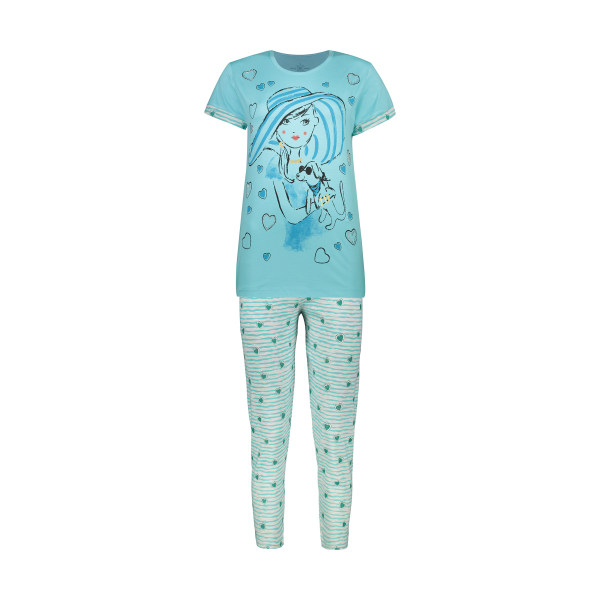 ست تی شرت و شلوار زنانه فمیلی ور طرح دختر کد 0258 رنگ آبی