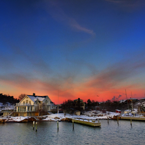 Sunset by the west coast in Sweden by Eva Larsson - Uncategorized All Uncategorized ( sky sunset winter cold snow sea home seaside sweden december )