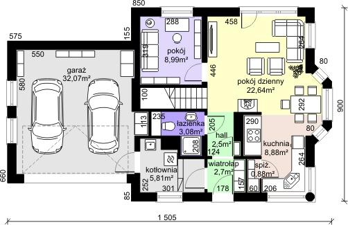 Dom przy Przyjaznej 9 - Rzut parteru