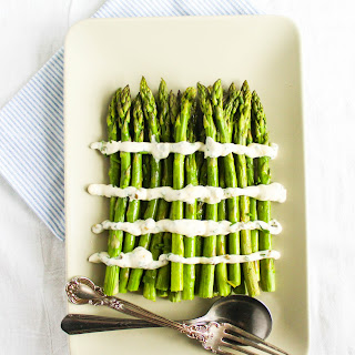 Roasted Asparagus with Lemon Caper Chives Sauce