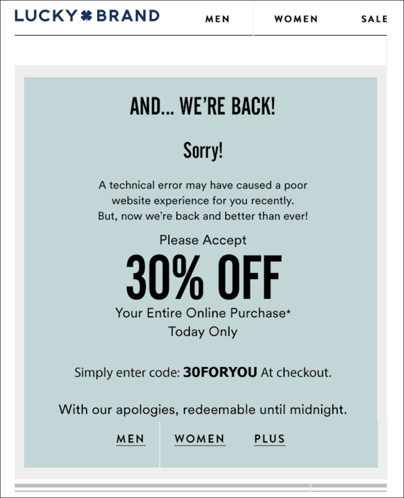you can do something similar by adding an evergreen expiring offer in your apology email to give each subscriber a coupon deadline you will need the