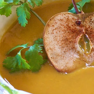 Curried Carrot Soup with Gingered Apple Chips