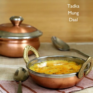 Split Mung Bean Soup - Mom's Simple Mung Dal Recipe with Garlic Chili Tadka.