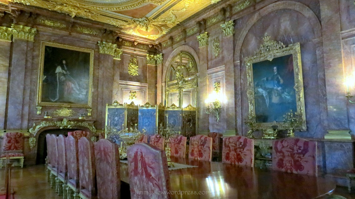 The Dining Hall. PURE pink marble! Even the chairs are made of marble!