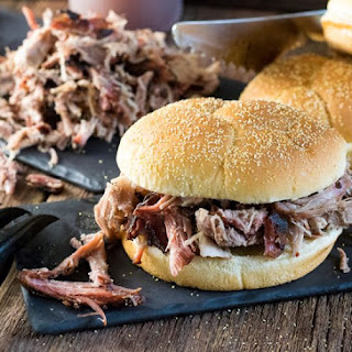Smoked Pork Shoulder Pulled Pork with Carolina Style BBQ Sauce.