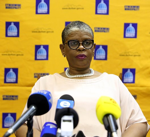 eThekwini mayor Zandile Gumede at a press briefing in Durban on Friday.