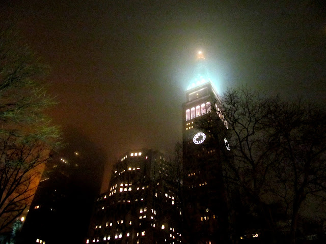 Met Life Tower in the fog, seen from Madison Square Park