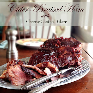Cider-Braised Ham with Cherry-Chutney Glaze