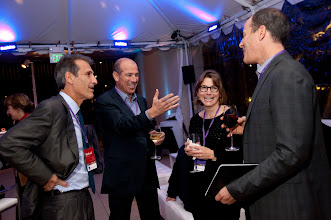 Photo: Politics Aside co-chair Michael Lynton shares a laugh with Howard Gordon, Lindsey Kozberg and David Nevins, Friday, Nov. 16, 2012.