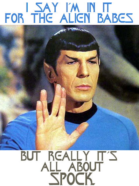 Secret 28 - Image: Spock holding his hand up in the Vulcan salute. Text: I say I'm in it for the alien babes. But really it's all about Spock. Font: one of the Star Trek fonts.