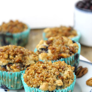 Blueberry Oatmeal Muffins with Pecan Streusel