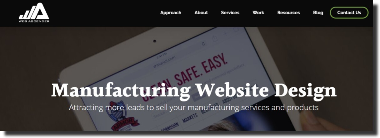 Web Ascender manufacturing website design company