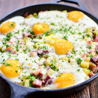 Corned Beef Hash Baked Eggs.
