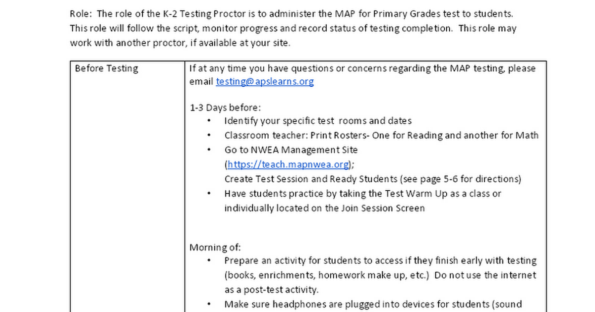 Classroom Teacher and-or Proctor- MAP Primary Grades K-2 - Google Docs