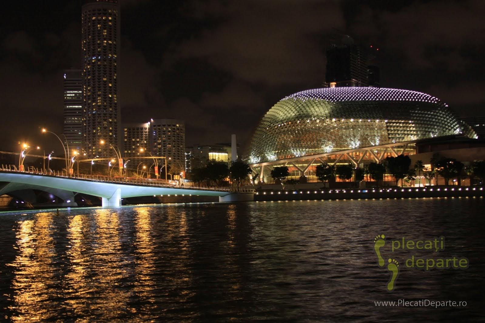 obiective turistice Singapore - Marina Bay - Esplanade - Theatres by the Bay noaptea. Privita din Aer cladirea are forma ochilor de viespe