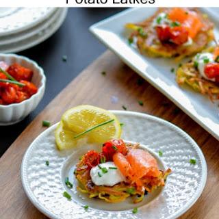 Roasted Tomato and Smoked Salmon Potato Latkes.