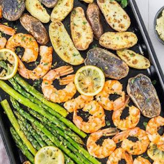 Sheet Pan Garlic & Lemon Shrimp, Asparagus & Fingerling Potatoes.