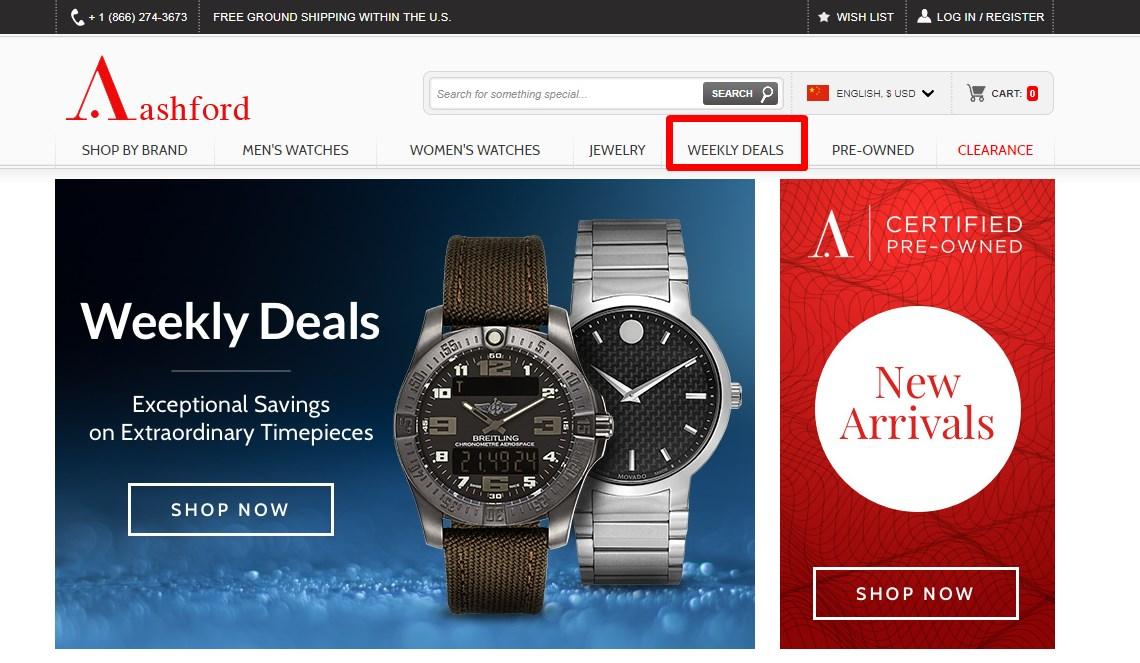 Ashford.com - Trang chuyên đồng hồ thương hiệu nổi tiếng tại Mỹ
