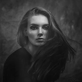Portrait of Aleksandra by Dmitry Baev - People Portraits of Women ( beauty, monochrome, black and white, portrait, girl )