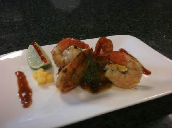 Tennessee Sweet Tea & Honey Spiced Shrimp With Grilled Peach And Mango Salad Recipe