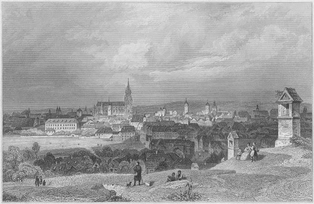 Regensburg vom Calvarienberg Stich von Poppel, 1870