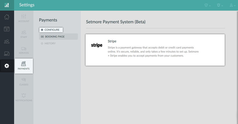 the cash register system supports taking payments through Stripe