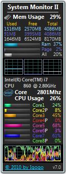 Monitorare la RAM e la CPU dal desktop System Monitor II Gadget