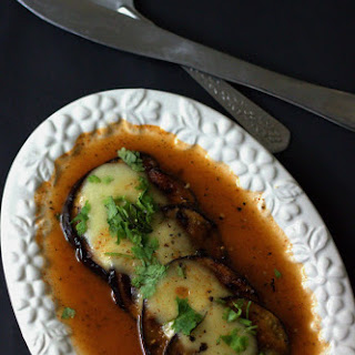 Spicy Honey Glazed Grilled Eggplant Topped with Mozzarella Recipe