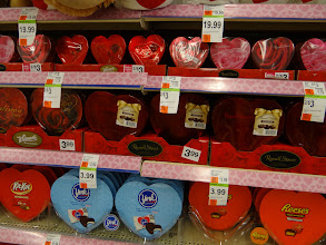 Photo: I spotted Reese's Peanut Butter Heart Chocolates- If Zane was not allergic, I would have bought those in a second.