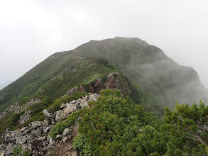 鳴沢岳の登りに