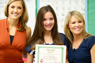 "Photo: Kylee with Christa Delcamp & Kayna Whitworth of 7 News during filming when they awarded Kylee the ""Class Act"" at Sky View Middle School on  October 3, 2013."