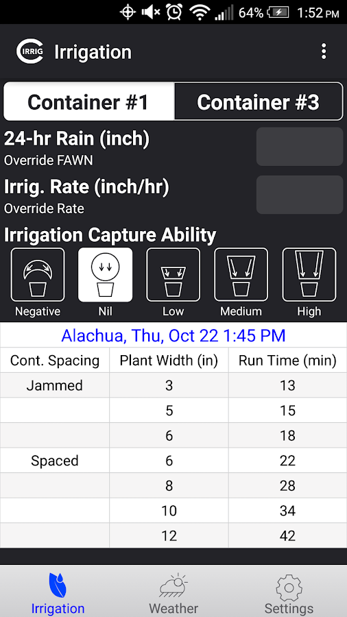 Container Irrigation Tool- screenshot