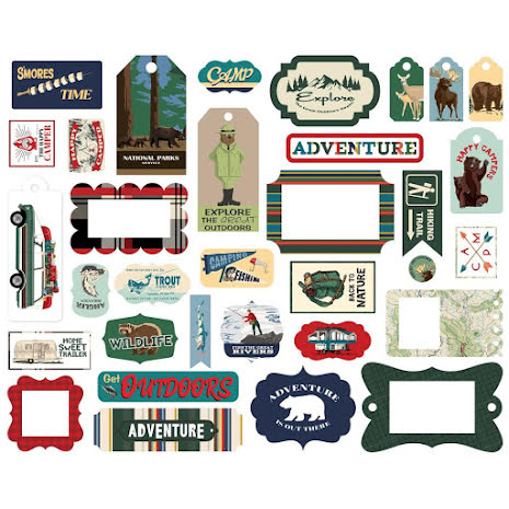 Carta Bella Outdoor Adventures Cardstock Die-Cuts 33/Pkg - Frames & Tags