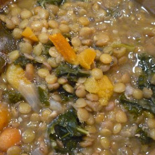 Lentil Apricot Soup With Roasted Kale