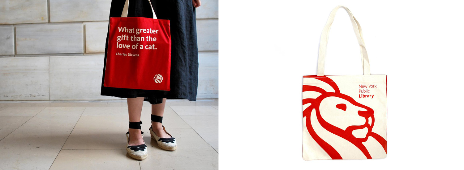 A red tote bag with the quote What greater gift than the love of a cat