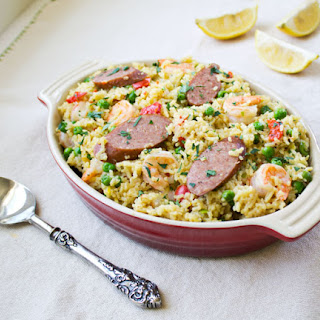 One Pot Sausage and Shrimp Paella