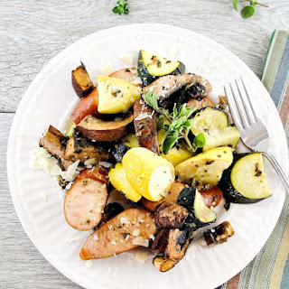 Roasted Turkey Kielbasa, Summer Squash and Portobello Mushrooms