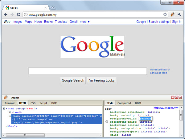 Firebug Lite Google Chrome