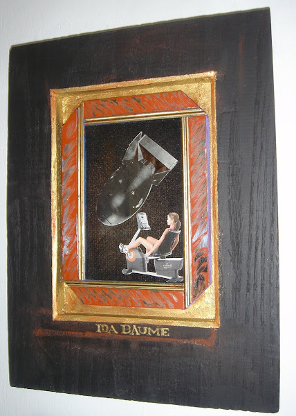 Photo: IDA BAUME collage, graphite, acrylic off-set print material. Artist made frame in gold with black patina http://www.saatchionline.com/carlograssini