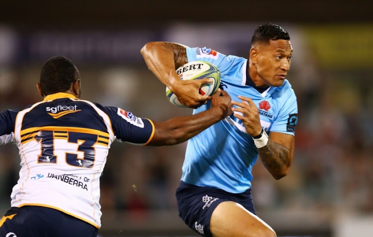 Israel Folau of the Waratahs runs the ball during the round seven Super Rugby match between the Brumbies and the Waratahs at GIO Stadium on March 31, 2018 in Canberra, Australia.