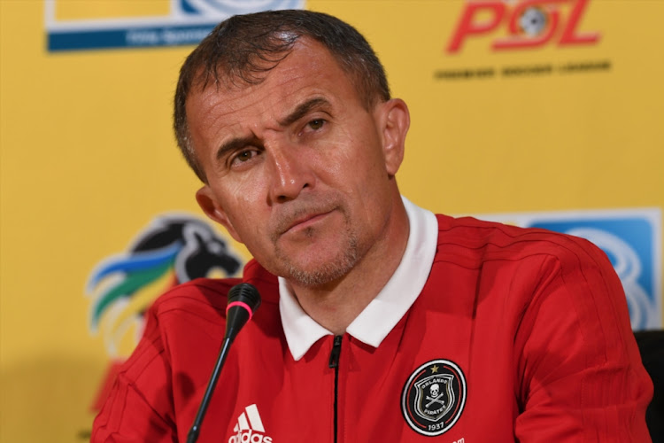Orlando Pirates coach Milutin Sredojevic during a press conference at PSL Offices on August 09, 2018 in Johannesburg, South Africa.