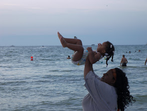 Photo: I LOVE THIS PICTURE! I was helping Kaleya jump waves.