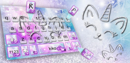 Silver Unicorn Cat Keyboard Theme for PC