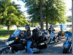 Cedar Creek Gang prepares their motorcycle escort to ride with us us out of town
