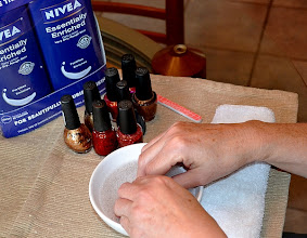 Photo: The mini manicure station was a huge hit. We might have even painted my son's nails... but there's no proof of that. Well, there might be but I'm saving it for blackmail material when he's a teenager! The NIVEA lotion was a huge hit with all of the moms even those who didn't paint their nails!  I'm not a huge nail person, but I am a lotion addict as I mentioned before. I cannot stand having dry skin. So NIVEA is perfect for me, especially for my feet and elbows!