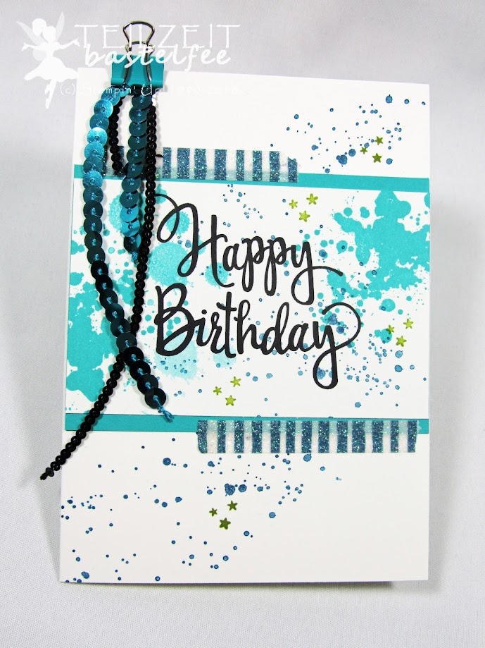 Stampin' Up! – Inkspire_me #340, Color Challenge, Stylized Birthday, Geburtstag, Männerkarte, Motivklebeband Märchenzauber, Myths & Magic Specialty Washi Tape, Gorgeous Grunge, Mini-Klemmen Geburtstag, Pailletten, Birthday Clips, male card