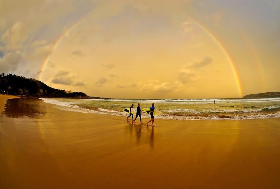 Walking with God by Ryan Cutlip - People Portraits of Men ( god, beach, surf, rainbow )