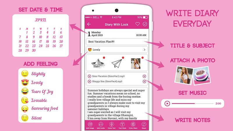 Secret Diary With Lock - Diary With Password Screenshot 1