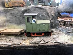 "Photo: 024 The main ""overground"" locomotive on Allen Law's Cwm Valley mining scene, was this powerful looking 15/18"" gauge diesel loco ."